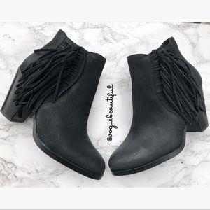Vince Camuto Hayzee Fringe Ankle Boots Black